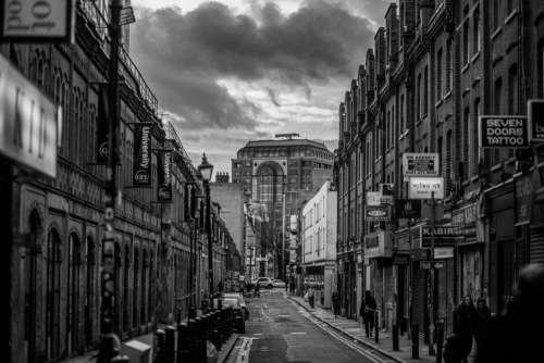 London Street in Black & White Free Photo