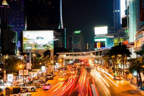 City Traffic at Night Free Photo