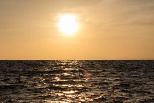 Rippling Sea Water at Dusk Free Photo