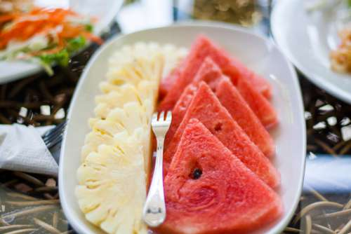 Sliced Watermelon and Pineapple Free Photo