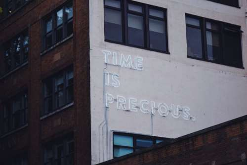 Time Is Precious Neon Sign Free Photo