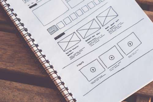 Web Design Wireframes on Paper Free Photo