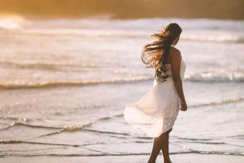 Woman White Dress Beach Sunset Free Photo