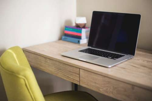 MacBook Wooden Desk Free Photo