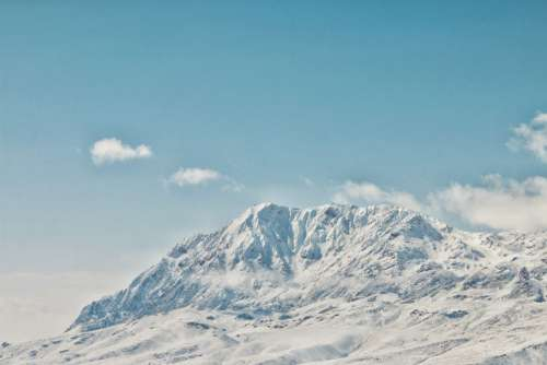 Mountain White Snow Blue Sky Free Photo