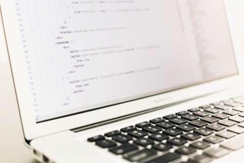MacBook Pro HTML Code Minimal Free Photo