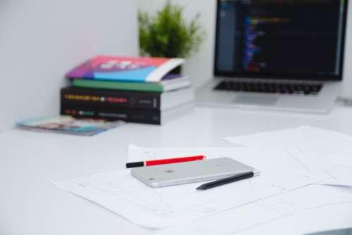 iPhone MacBook Code Desk Minimal Free Photo