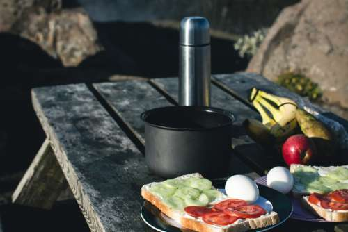 Camping Breakfast Nature Mountains Free Photo