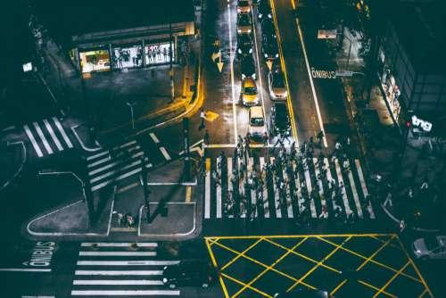 City Night Lights Crossing Free Photo