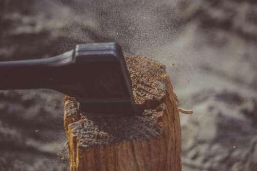 Axe Chopping Log Wood Free Photo