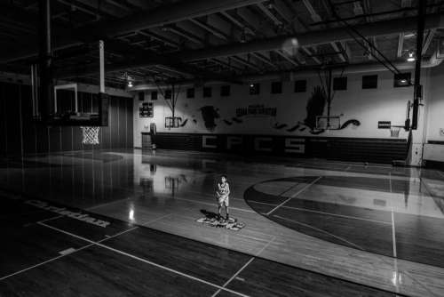 Boy Basketball Gym Black White Free Photo