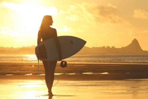 Woman Surfboard Beach Sunset Free Photo