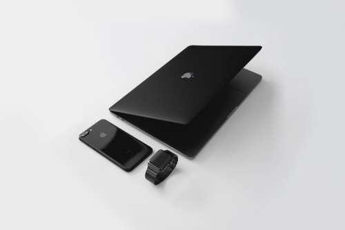 Black MacBook iPhone Apple Watch Free Photo