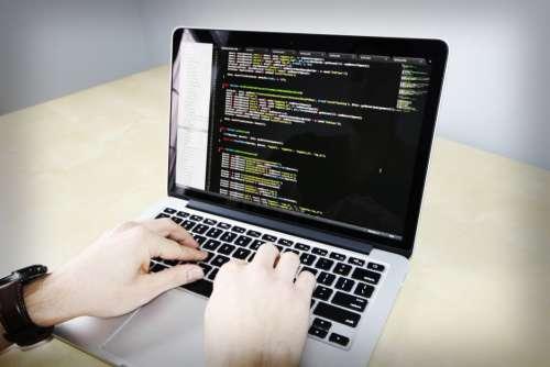 Hands Coding MacBook Free Photo