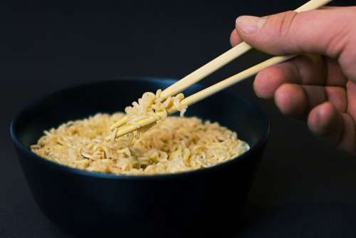Black Bowl Noodles Chopsticks Free Photo