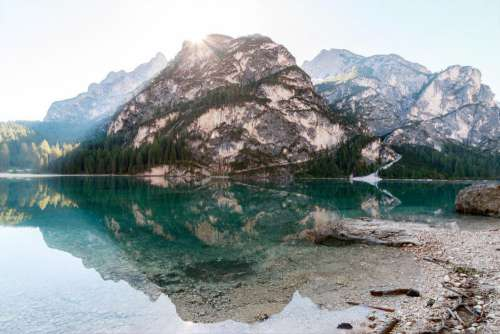 Clear Lake Mountain Blue Sky Free Photo