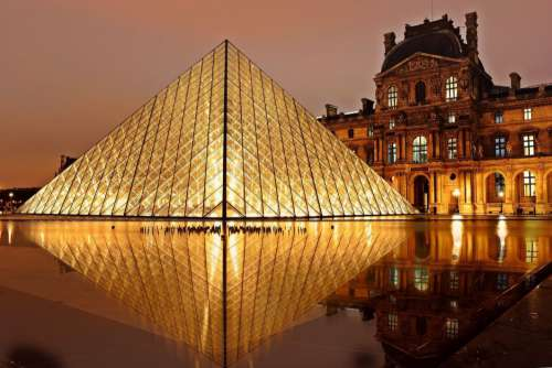 Louvre Pyramid Lights Night Free Photo