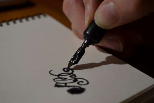 Pen Ink Hand Paper Free Photo