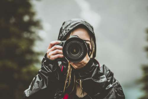 Camera Woman Rain Jacket Free Photo