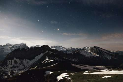 Mountain Snow Sky Stars Free Photo