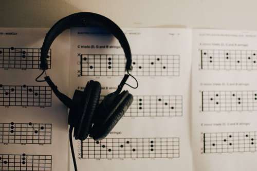 Sheet Music Headphones Free Photo