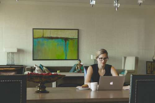 Woman Work Table Laptop Office Free Photo