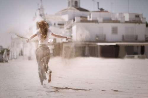 Woman Running Sand Beach Free Photo