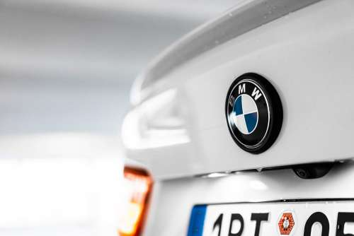 BMW Logo Emblem on Trunk Free Photo