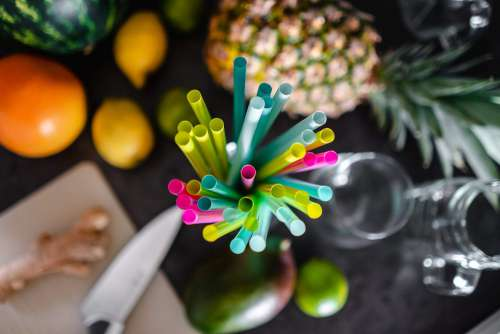 Colored Plastic Straws Ready for Party Free Photo