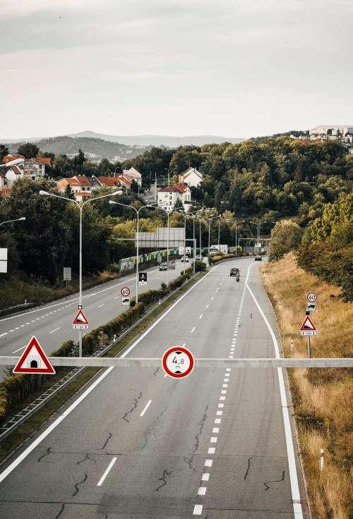 European In-City Four Lane Road Free Photo