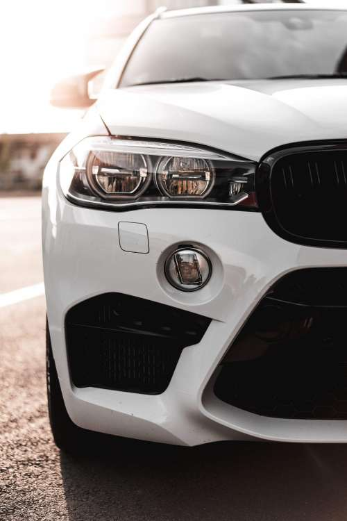 Modern White Car Headlight Free Photo