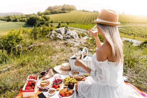 Woman Enjoying a Picnic in South Moravia Wine Region Free Photo