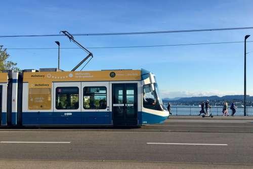 Zurich Switzerland Tram Rail Traffic Travel