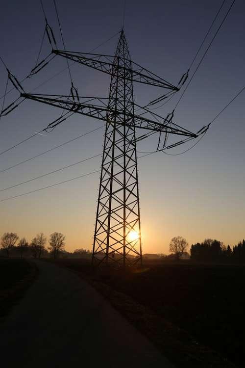 Current Masts Sky Evening Energy Mast Landscape