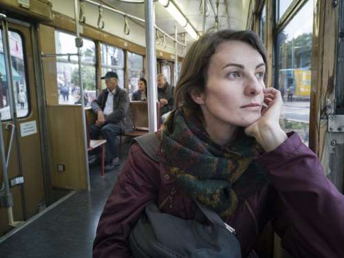 Woman Portrait Train Tramway Girl Face Young