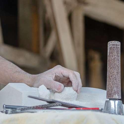 Sculpture Sculptor Hand Tool Work Detail Pierre