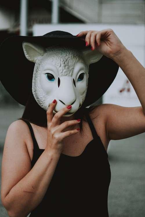 Woman Sheep Mask Mask Abstract