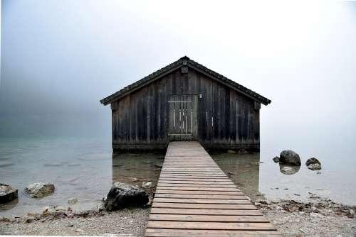 Bergsee Water Hut Fog Stones Mystical Nature