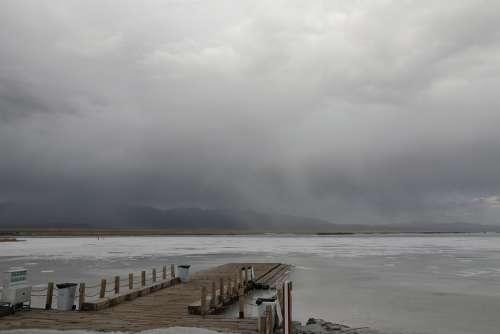 Caka Salt Lake Dark Clouds Embankment