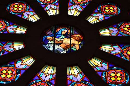 Stained Glass Colorful Window Chapel Mother Son