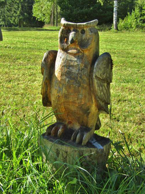 Owl Eagle Owl Bird Wood Figure Art Statue