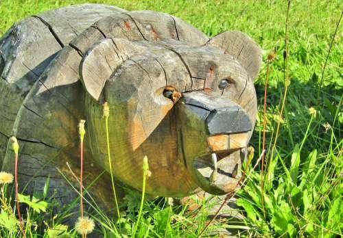 Bear Tooth Dangerous Wood Figure Statue Meadow