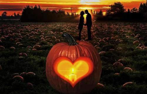 Autumn Pumpkin Couple Fall Patch Sunset Farm