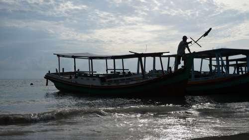 Beach Fisherman Ship Fishing People Landscape
