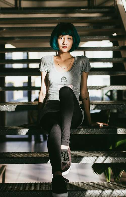 Blue Hair Girl Look Colorful Happy Young Woman
