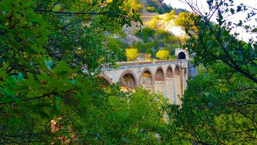 Bridge Railroad Rails Train Trip Landscape Tracks
