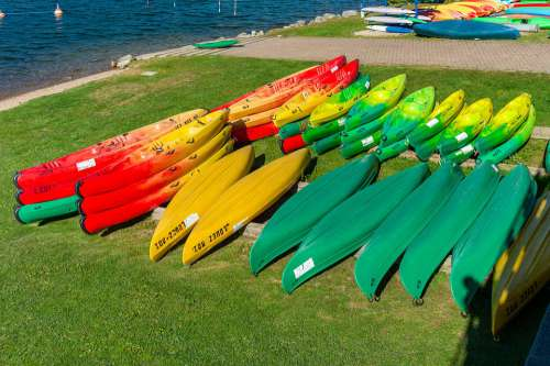 Canoes Water Outdoor Lake Colourful Summer France