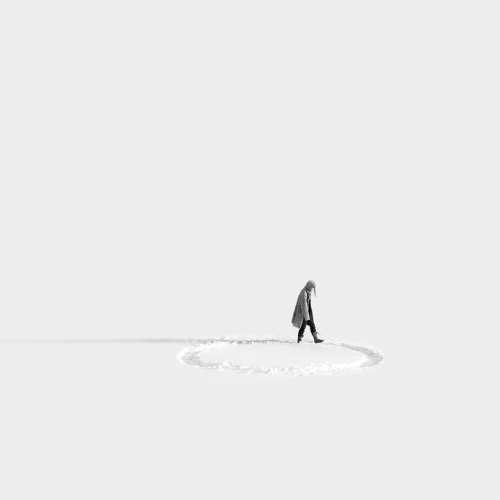 Circle Girl Woman Winter Endless Empty Sad