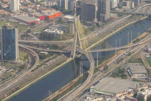 Cityscape Brazil Urban Landmark Bridge River
