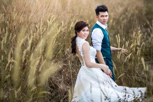 Couple Groom Bride Wedding Marriage Romantic